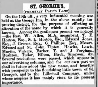 Wellington Journal 7 January 1860 St Georges